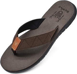 KuaiLu Tongs Mousse de Yoga Hommes en Tissu Thongs Poids léger Plates Adulte été Plage Piscine Sandales