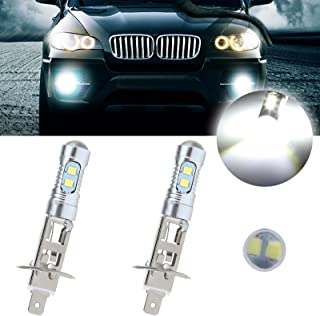 cciyu 2 Pack Super White 6000k H1 LED Bulb 50W 6000LM CREE Car LED Replacement fit for Fog DRL Light