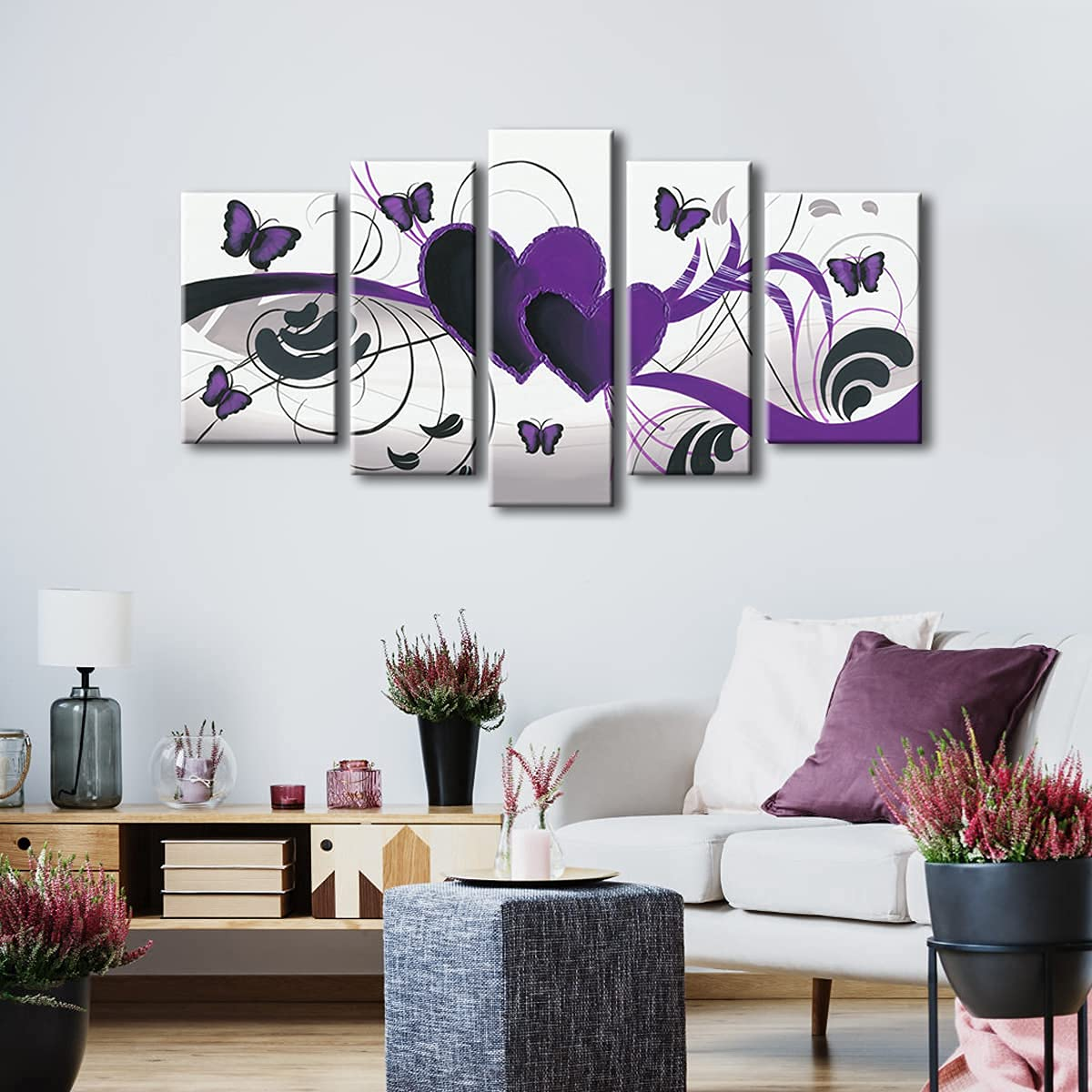 Wieco Art - Purple Love Butterfly 5 Panels Modern 100% Hand Painted Abstract Oil Paintings Artwork on Stretched and Framed Canvas Wall Art Ready to Hang for Wall Decor Home Decoration