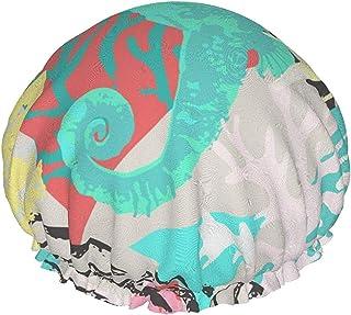 Dwuwarstwowa czapka prysznicowa, uroczy wzór pod wodą, wielokrotnego użytku wodoodporne elastyczne czepki kąpielowe, z ela...