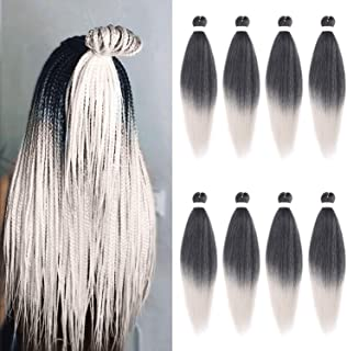 Leeven 26 Inch 8 Packs Pre-stretched EZ Braiding Hair Professional Easy Crochet Braiding Hair Hot Water Setting Perm Yaki ...