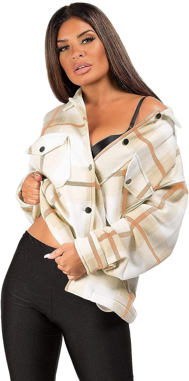 Womens Check Fleece Casual Jacket Shacket Top Shirt Coat Tunic Oversize Baggy