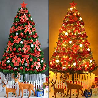 TOPYL 4FT Artificial Christmas Tree Pre-lit Optical Fiber Xmastree w/LED Lights & Ornaments, Eco-Friendly PVC Flame Retardant, Easy Assembly-red 4ft(120cm)