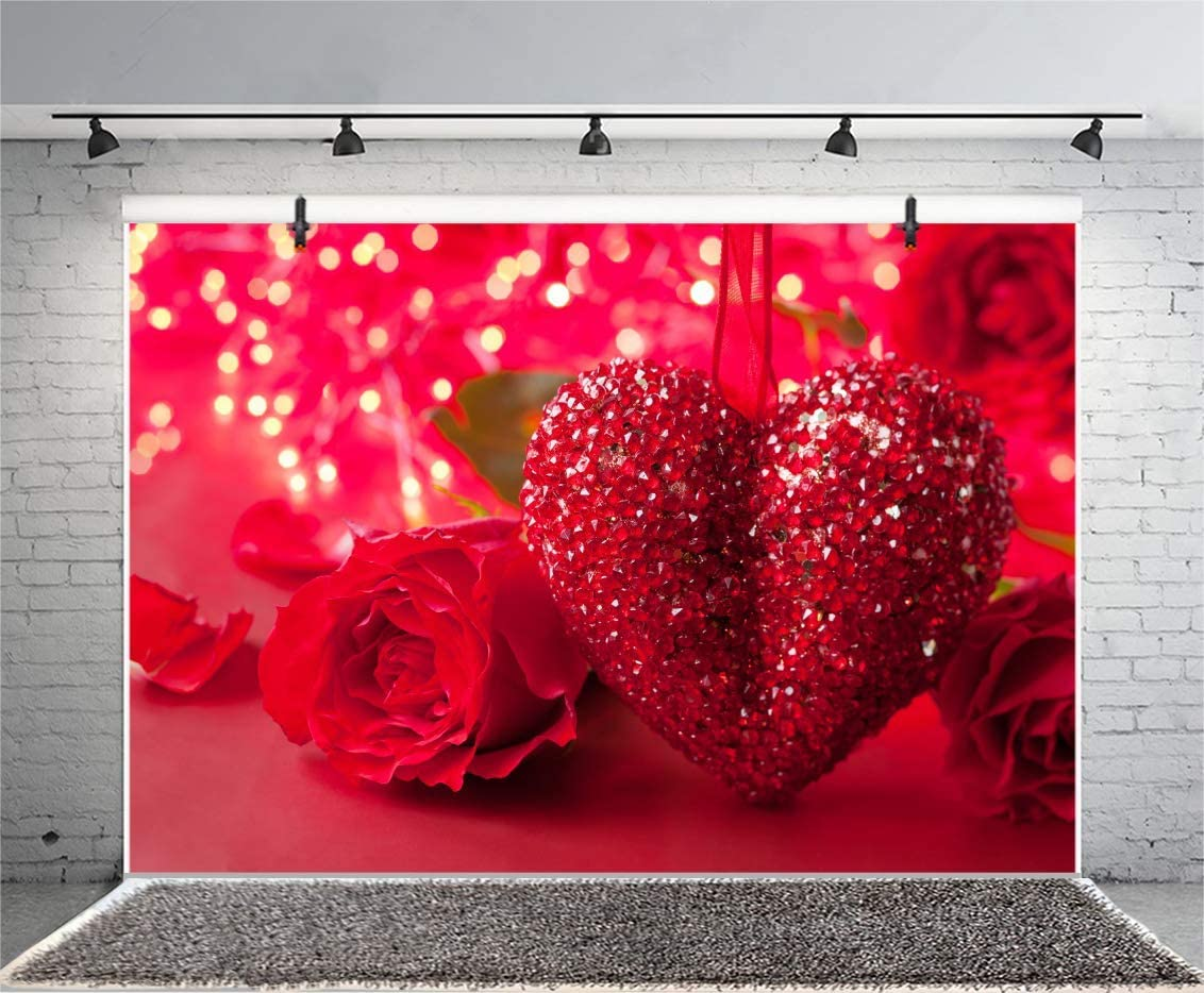 6x4FT 2020 Valentines Day Photography Backdrop Red 3D Crystal Love Heart Red Rose Blurry Virtual Background Wedding Lovers Couples Portraits Props Marriage Proposal Decoration