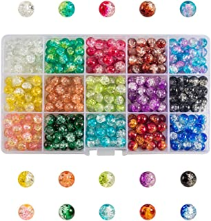 PandaHall 450pcs 15 Couleurs Peint au Spray Perles de Verre Craquelées 8 mm Perles Craquelées Rondes Fabriquées à la Main ...