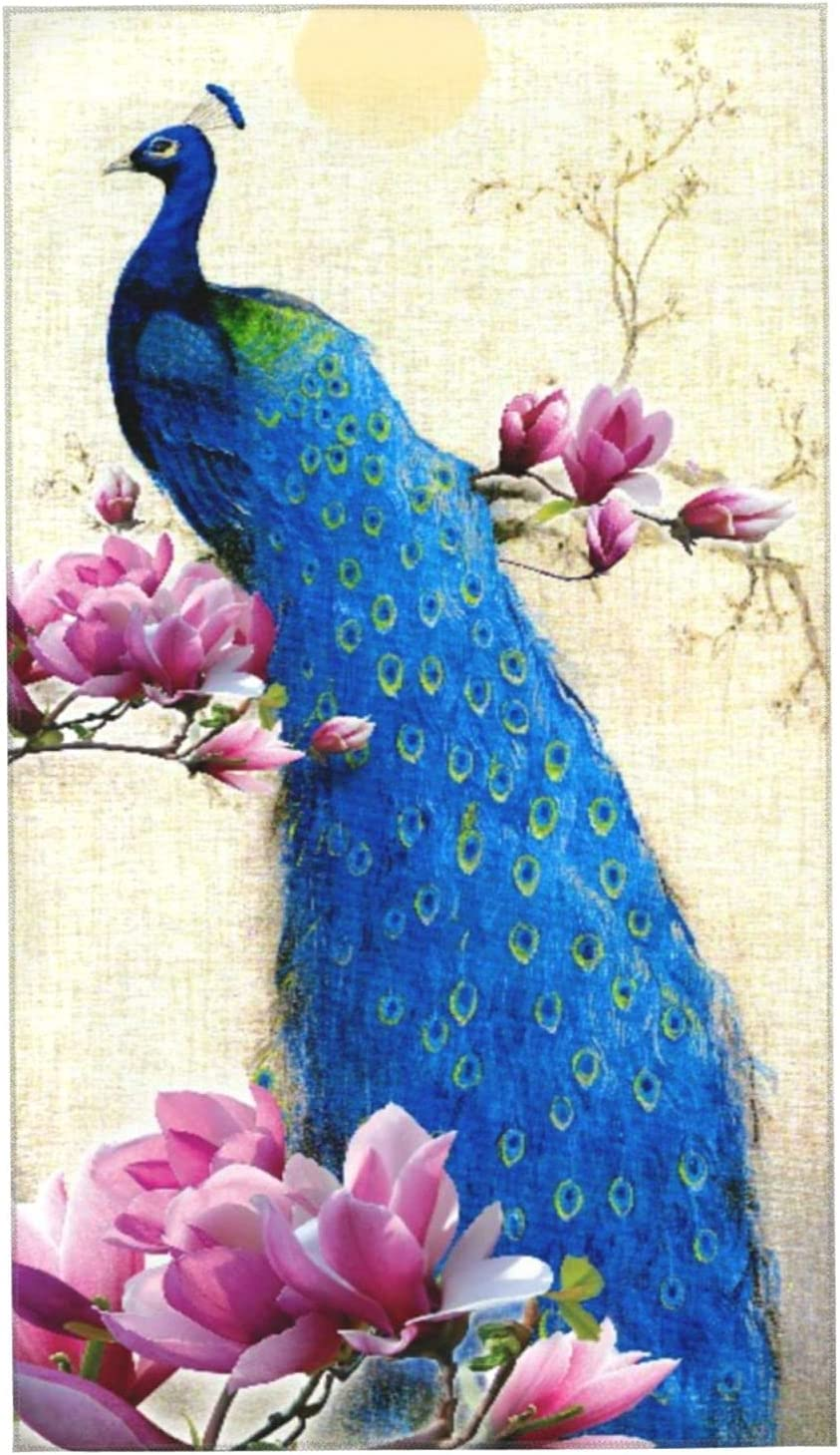 KENADVI Hand Towels Peacock with Blossom Magnolia Free Shipping Cheap Bargain Gift Outlet SALE Tree Beautiful