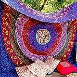 Tapisserie Mehrfarbig Geschenk Hippie Wandteppiche Mandala Bohemian Psychedelic komplizierte indische Wandbehang Bettwäsche Tagesdecke (Multi, 210 x 140 cms)