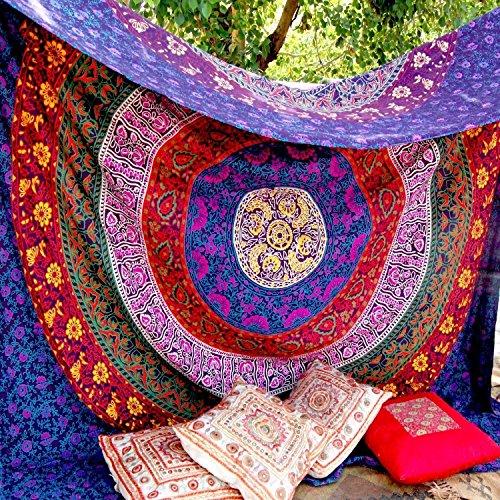 Craftozone Tapiz Multicolor Regalo tapices Hippie Mandala Bohemio psicodélico intrincado Indio Colgante de Pared Ropa de Cama Colcha