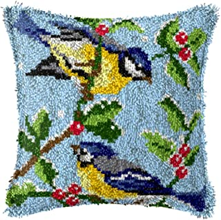 X-xyA Latch Hook Kit Pillowcase Embroidery Kit Cushion Cover for Christmas Home Decoration Bird 17 X 17 Inch,A,17 X 17 inch