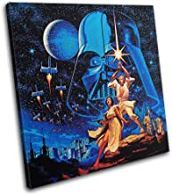 Bold Bloc Design - Star Wars Vintage Poster Movie Greats 60x60cm Single Canvas Art Print Box Framed Picture Wall Hanging -...