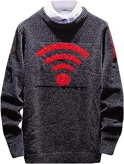Ellymi Men's Warm Crewneck Sherpa Lined Fleece Sweatshirt Pullover Tops Knitting Sweaters Blouse