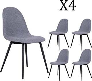 DAGONHIL Dining Chair for Kitchen,Elegant Velvet Back and Cushion,Eames-Style Side Chairs with Sturdy Metal Legs Set of 2 (Gray)