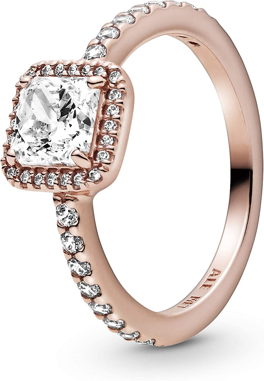 Pandora Jewelry Square In stock Cubic Max 87% OFF Zirconia Rose Ring in