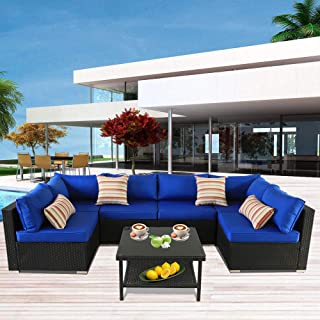Patio Rattan Furniture Outside Sofa Black Rattan Couch Set Garden Rattan Seating Couch Sectional Conversation Sofas Royal Blue Cushion