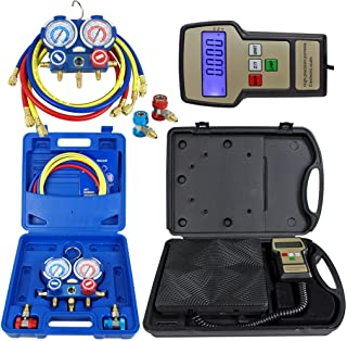 ZENY Portable 220 Lbs Digital Refrigerant Electronic Charging Scale HVAC AC R134a Manifold Gauge Set With Case (Scale & Manifold Gauge Set)