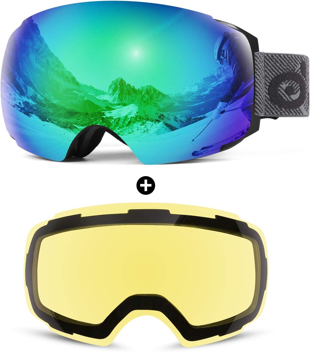 Odoland Magnetic Interchangeable Ski Goggles with 2 Lenses, Large Spherical Frameless Snow Goggles