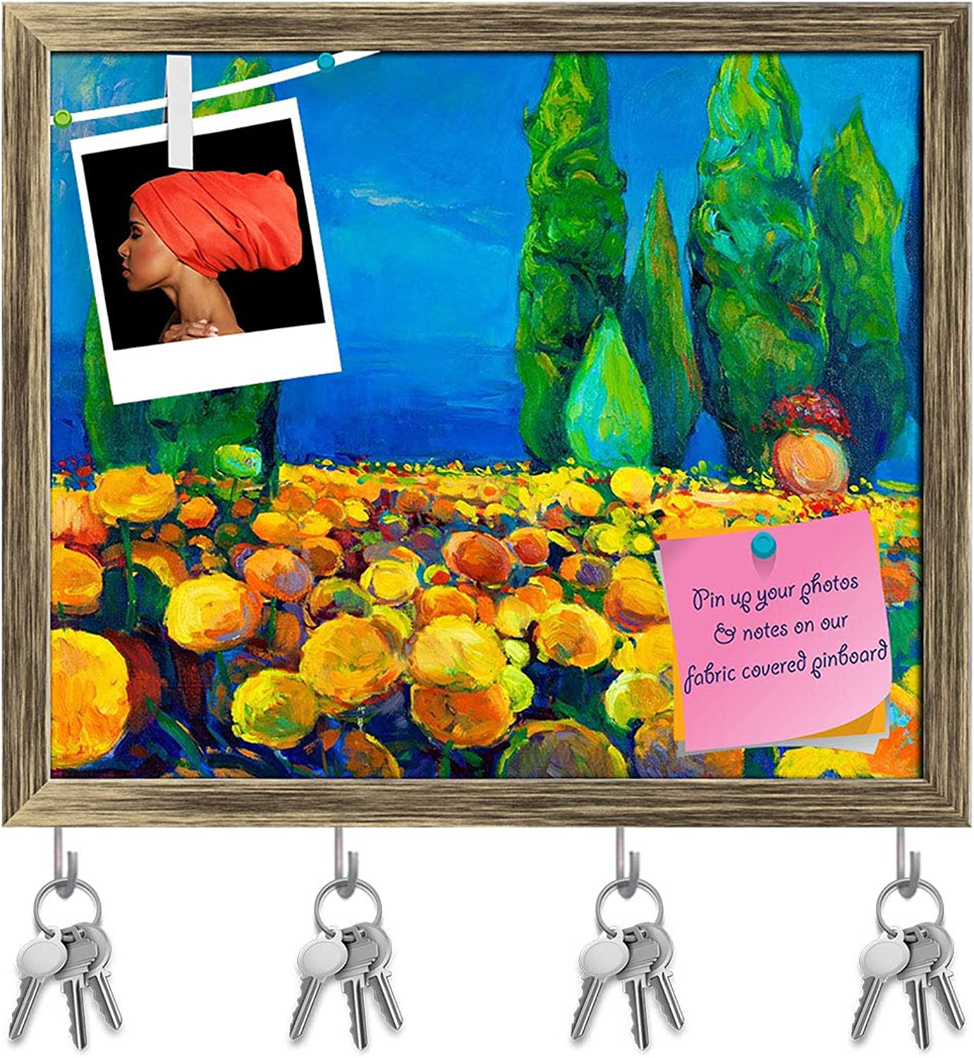 Artzfolio Artwork of Green Trees & Yellow Flowers Key Holder Hooks   Notice Pin Board   Antique golden Frame 19 X 16Inch