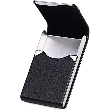 flintronic Business Card Holder | PU Leather Credit Card Holder | Magnetic Buckle Stainless Steel ID Case | Name Card Case for Men/Women | for Travel and Work