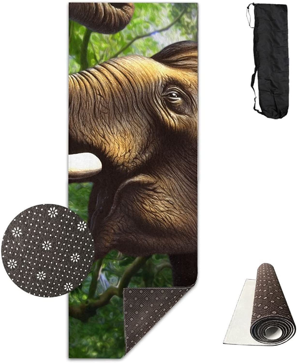 Yoga Mat Non Slip 24  X 71  Exercise Mats Cute Elephant Premium Fitness Pilates Carrying Strap