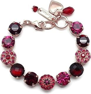 Firefly Swarovski Crystal Rose Goldtone Bracelet Red Fuchsia Mix Mosaic 2140