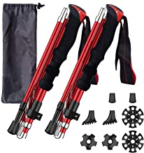 BISINNA Collapsible Trekking Hiking Poles- 2 Pack Folding Aluminum Walking Sticks with Quick Lock System 4 Season Accessor...