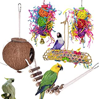 Bird Parrot Toys,3 pcs Hanging Cockatiel Chew Pecking Chewing Toy Cage Swing Toys Macaws Perch with Bells Wooden Hammock H...