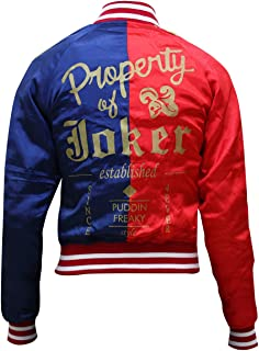 Aus Eshop Womens Suicide Squad Harley Quinn Margot Robbie Costume Red & Blue Bomber Jacket