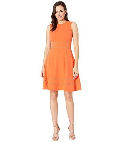 Calvin Klein A-Line Dress w/ Embellishment at Waist and Hem (Ember) Women