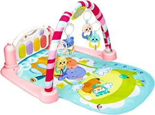 Christoy Baby Play Gym Kick and Play Mat Newborn Activity Gym Lay & Play 3 in 1 Fitness Music and Lights Fun Piano (Pink)
