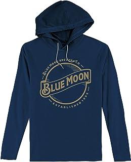 Tee Luv Blue Moon Hooded Tee Shirt - Long Sleeve Hooded Blue Moon Beer Shirt