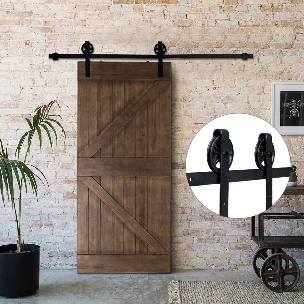 Bonnlo - Kit de herramientas para puerta de armario, garaje, cocina, interior y exterior (negro) (gran rueda industrial): Amazon.es: Bricolaje y herramientas