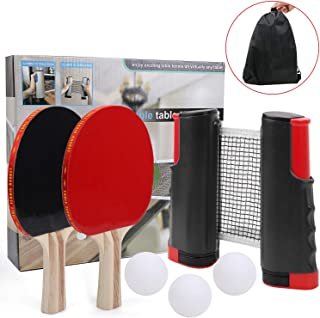 IAMGlobal Ping Pong Paddle Set with Retractable Net, 2 Premium Paddles Rackets, 3 Table Tennis Balls, 1 Retractable Net, 1 Storage Bag, Table Tennis & Ping Pong Set for Indoor Outdoor (Black)