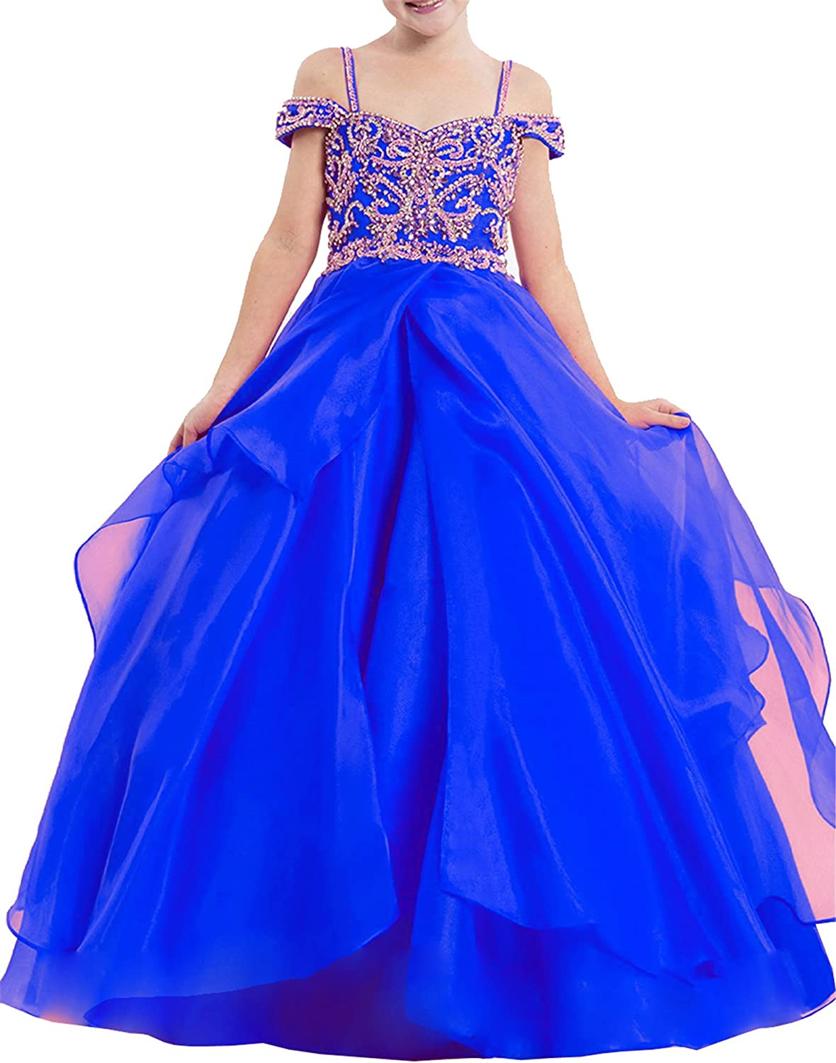 TuanYuan Princess Girls Off Shoulder Ball Gowns Spaghetti Pageant Dresses