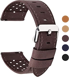 Fullmosa 20mm Café Bracelet Montre Homme Femme, Bracelet de Montre en Cuir de Veau à Dégagement Rapide Series Breeze