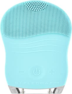 StyleCraft Gentle Sonic Facial Cleansing Brush, Ideal for All Skin Types, Smoothing, Anti-Aging, Makeup Remover, Acne Treatment (Aquamarine)