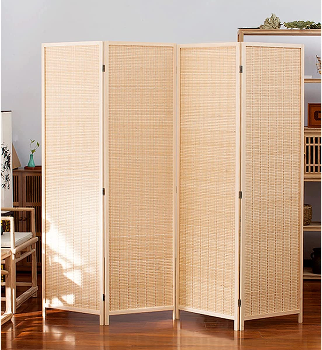 TinyTimes 6 FT Tall New product! New type Bamboo Max 67% OFF Dividers Room Divider Panel 4