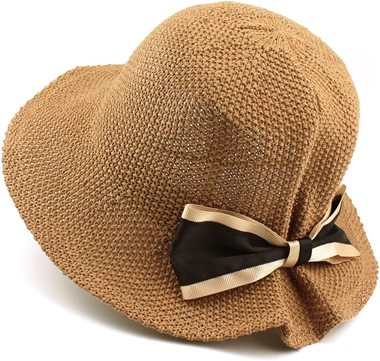 KTYX Hat Lady Cotton Knitting Spring Festival Travel Elegance Bow Folding Sun Hat Summer Hat (color   Brown, Size   M(5658cm))