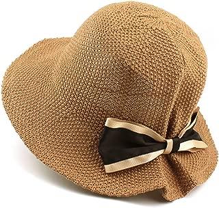 GLJJQMY Hat Lady Cotton Knitting Spring Festival Travel Elegance Bow Folding Sun Hat Summer Hat (Color : Brown, Size : M (56-58cm))