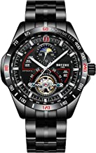 Men Automatic Mechanical Sport Watches for Men Fashion Casual Mens Watch Business Stainless Steel Luminous Skeleton Auto-Date Waterproof Man Wrist Watch.45mm