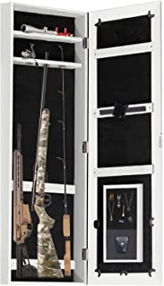 Gun Cabinet Jewelry Mirror Armoire (His and Her's) Rifle & Pistol Safe (Holds Small 35.5