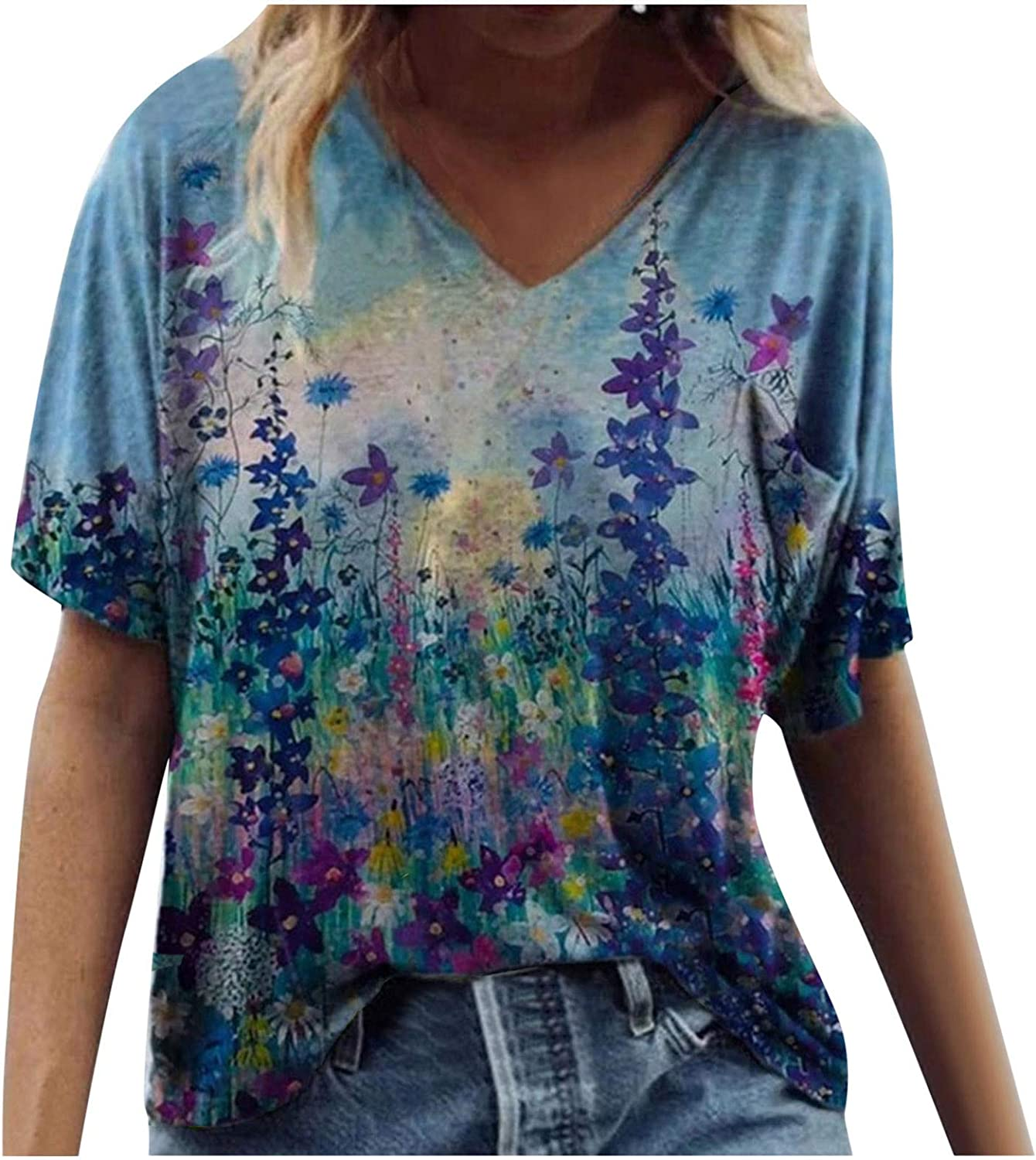 Womens Short Sleeve Tops, naioewe Butterfly Graphic Tees for Women Casual Tie Dye Print T-Shirt V-Neck Loose Blouse Tops