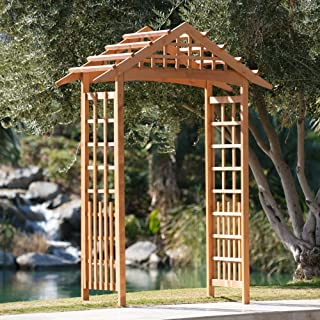 Coral Coast Wood Arch Arbor for Outdoor in Natural Spruce Finish