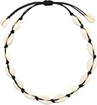 CUSVUEVI Women`s Natural Cowrie Shell Necklace, Handmade Shell Choker Adjustable Necklace Hawaii Beach Boho Jewelry