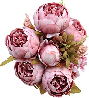 Luyue Vintage Artificial Peony Silk Flowers Bouquet, Cameo Brown