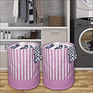 PrettyKrafts Canvas Laundry Bag, Toy Storage, Laundry Storage (45 L) (Set of 2 Pieces)- Pink
