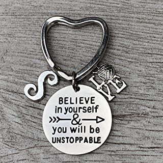 Personalized Love Volleyball Unstoppable Initial Keychain, Volleyball Players Gifts, Believe in Yourself You Will Be Unstoppable Keychain for Men and Women
