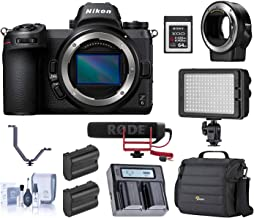 Nikon Z6 FX-Format Mirrorless Digital Camera Body with Mount Adapter FTZ Bundle with Camera Bag, 64GB XQD Card, Rode Mic, LED Light, 2 Batteries, Dual Charger, 3 Shoe V-Bracket, Cleaning Kit