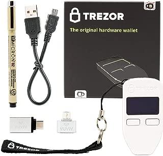 TrezorホワイトBitcoinハードウェア財布バンドルwith vuviv Micro - USBアダプタ、vuviv - Cアダプターfor MacBook and Sakura Pigmaアーカイブインクペン(4Items)