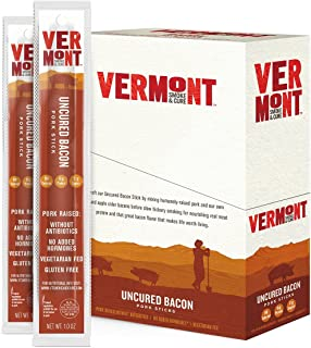 Vermont Smoke & Cure Pork Meat Sticks, Antibiotic Free, Gluten Free, Uncured Bacon, 24 Count