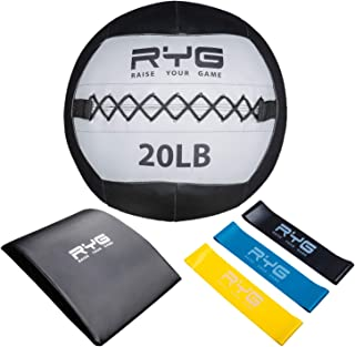 Raise Your Game Wall Ball Core Workout Set with Ab Mat, Soft Crossfit Medicine Ball for Muscle Building, Core & Plyometric Training